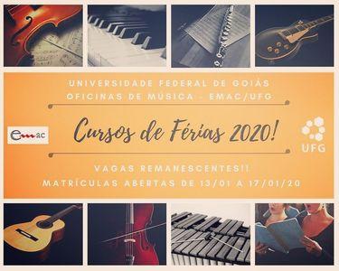 Divulgação Matrículas Curso de Férias Música 2020/1