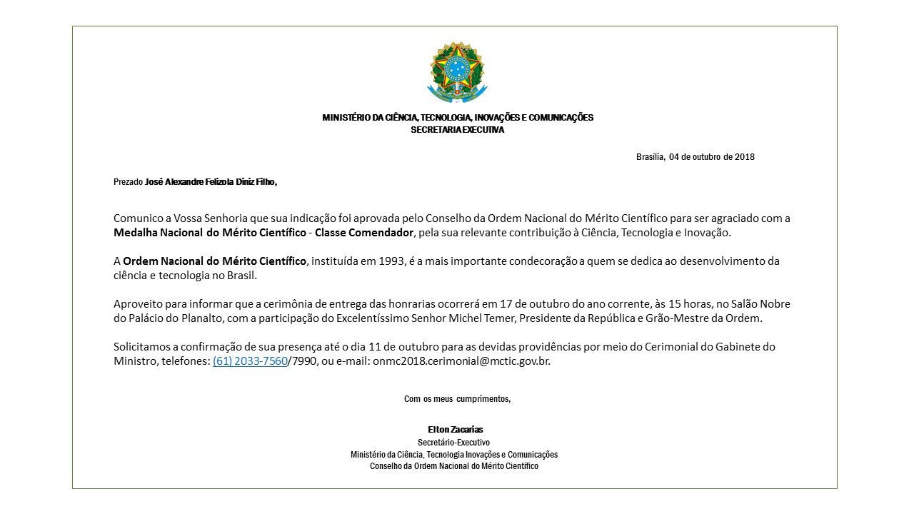 Medalha Nacional do Mérito Científico José Alexandre UFG