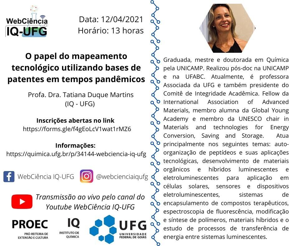 """Webinário: """"O papel do mapeamento tecnológico utilizando bases de patentes em tempos pandêmicos"""""""