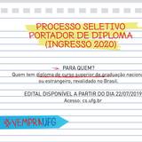 Processo Seletivo Portador de Diploma Ingresso 2020
