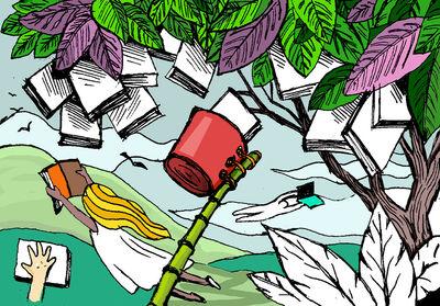 cartaz de divulgação com uma árvore de livros