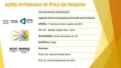 O CEP/UFCAT ofertará disciplinas no âmbito da Universidade Federal de Catalão, em nível de graduação e de pós-graduação.