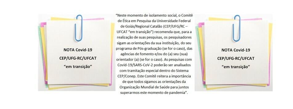 """Nota CEP/UFG-RC/UFCAT """"em transição'"""