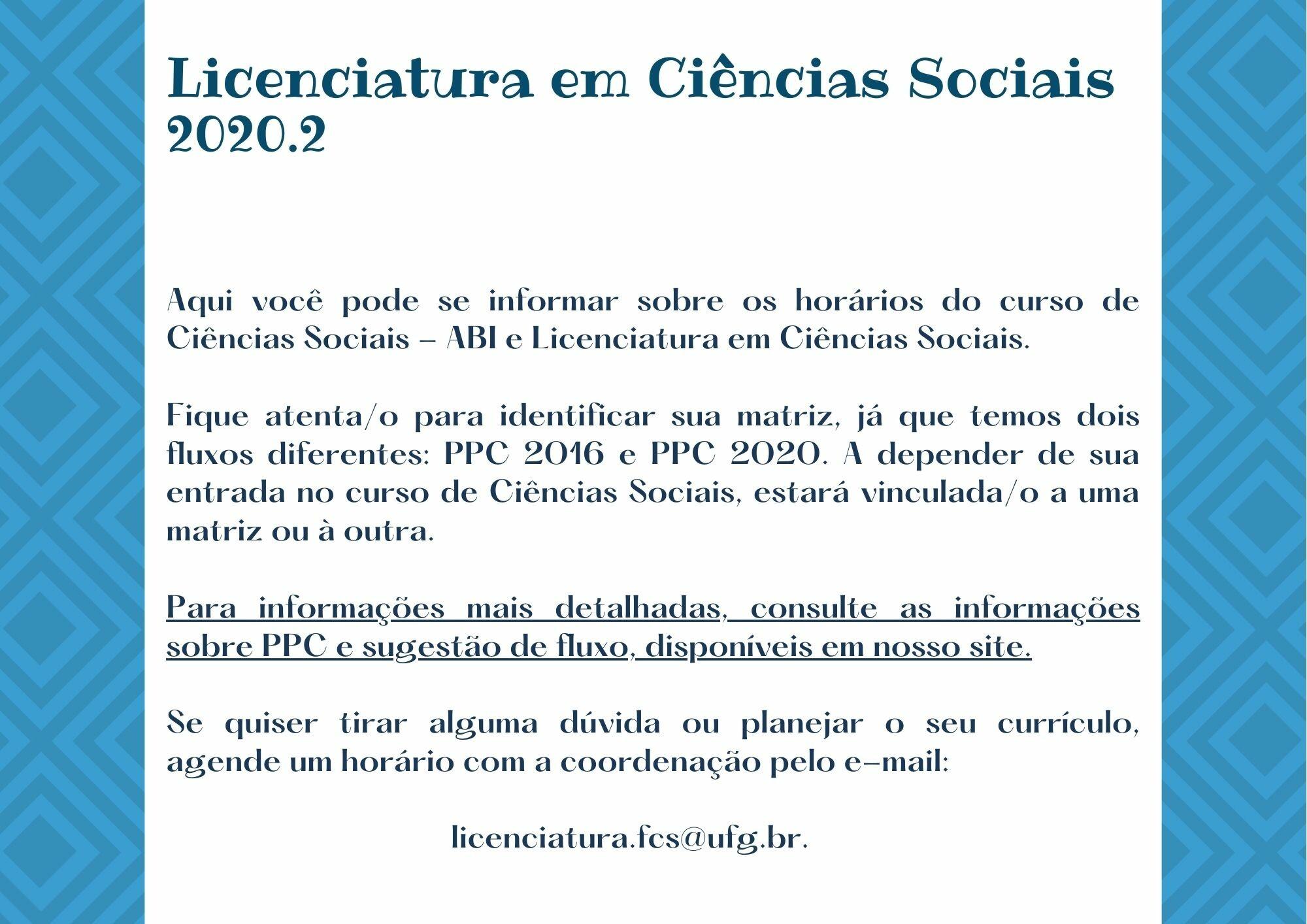 Introdução Horários Licenciatura 2020.2