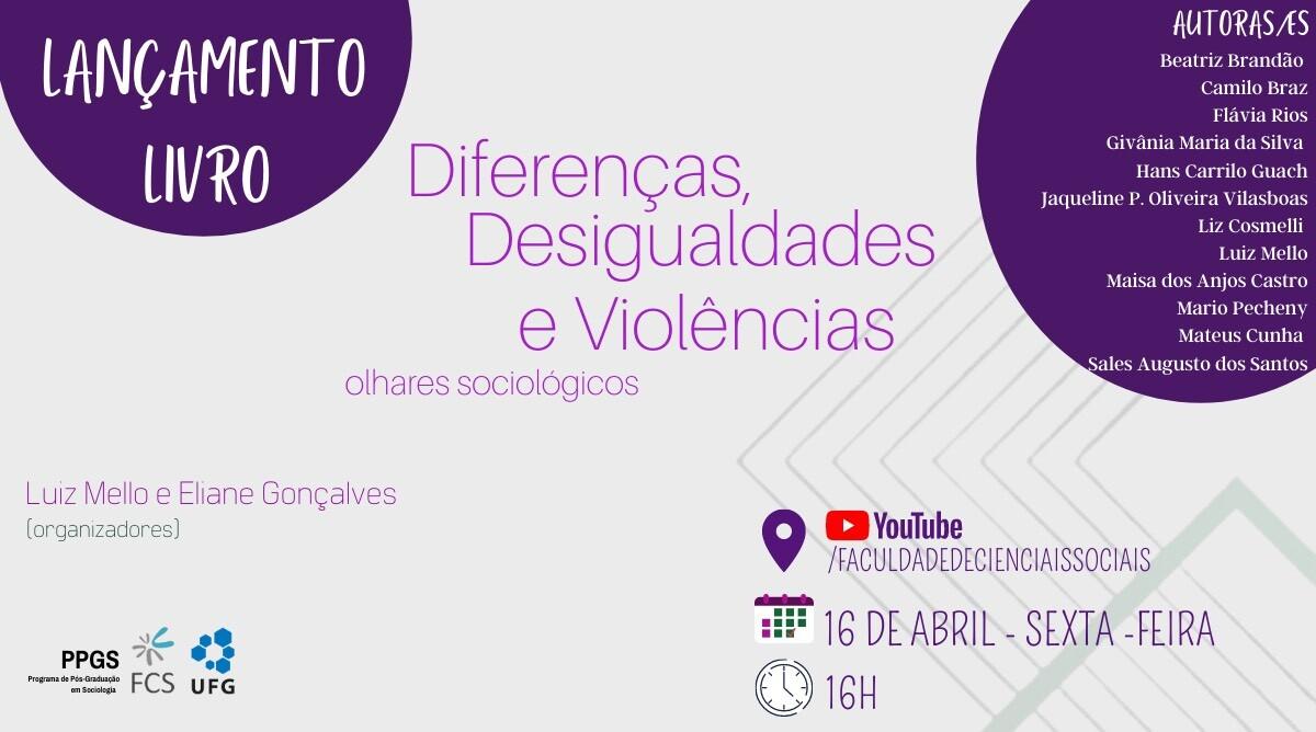Convite lançamento do livro Diferenças, Desigualdades e Violências