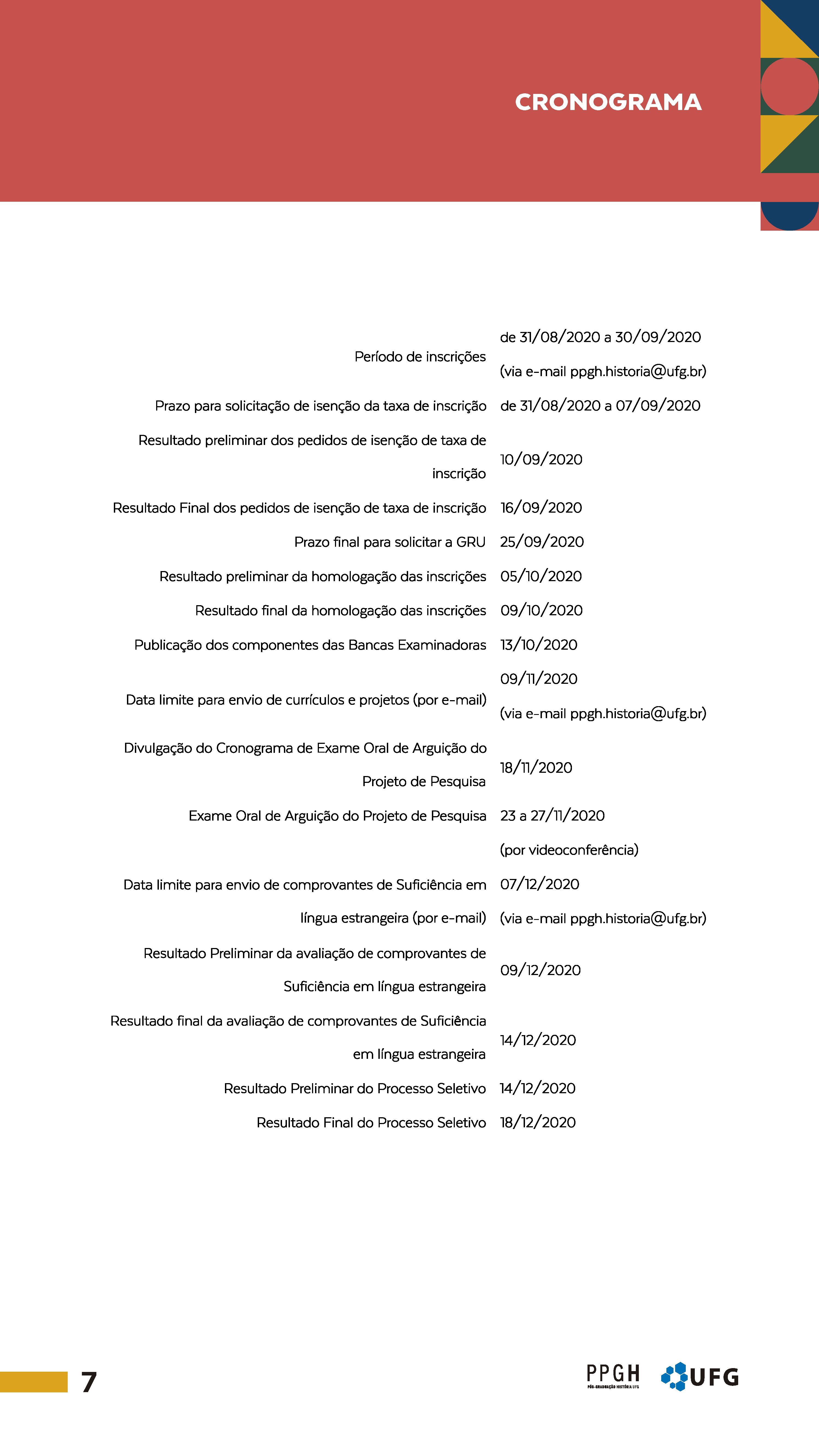 Cronograma PS2021