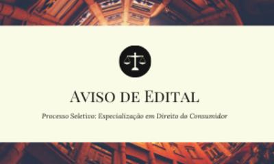 AVISO DE EDITAL POS DIREITO CONSUMIDOR
