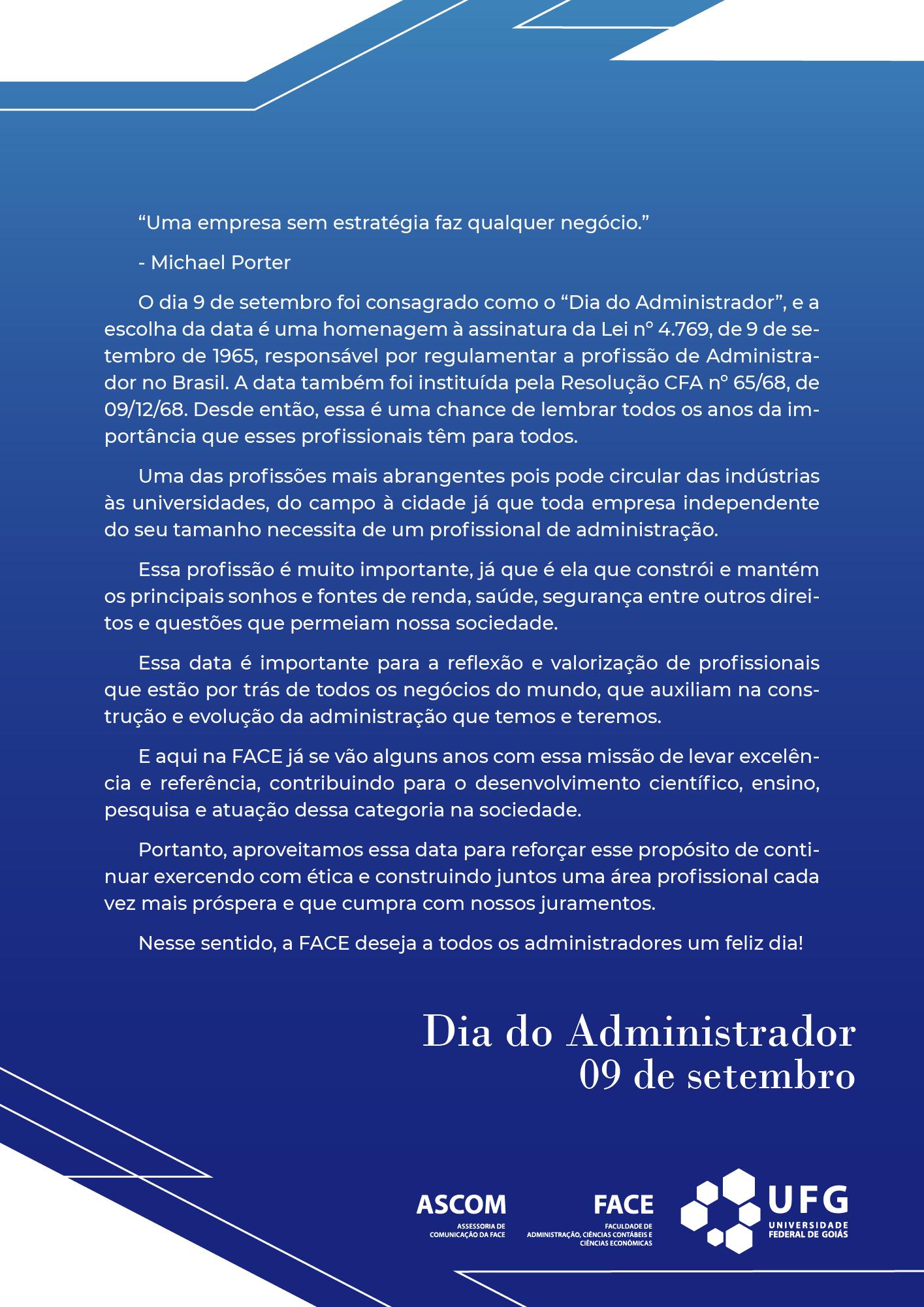 carta da semana do administrador