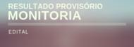 RESULTADO PROVISÓRIO - Monitoria 01/2019