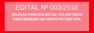 SELEÇÃO PARA BOLSISTAS/ VOLUNTÁRIOS PARA INGRESSO NO GRUPO PET/ENF/UFG