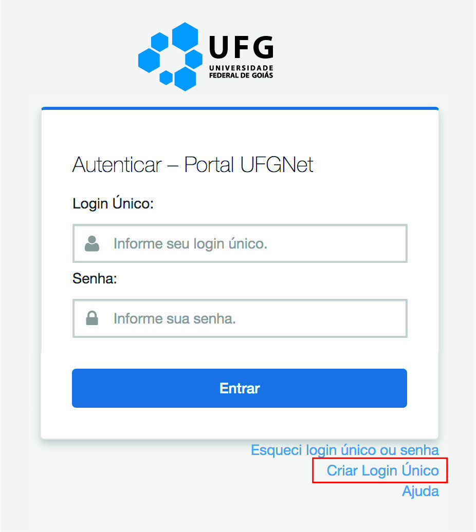 Tela de login do UFGNet