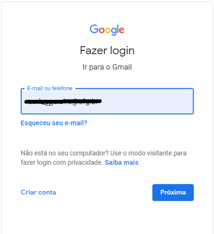 Tela de login do Google