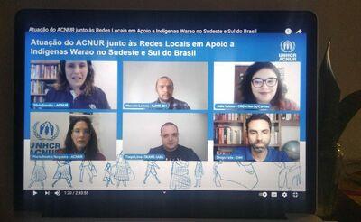 Tela do computador durante o início da transmissão, com a presença de Silvia Sander, Marcelo Lemos, Júlia Veloso, Maria Beatriz Nogueira, Tiago Lima e Diogo Felix