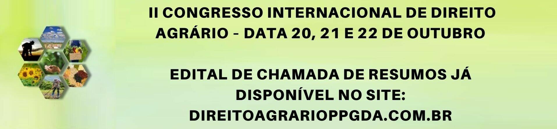 II CONGRESSO INTERNACIONAL DE DIREITO AGRÁRIO