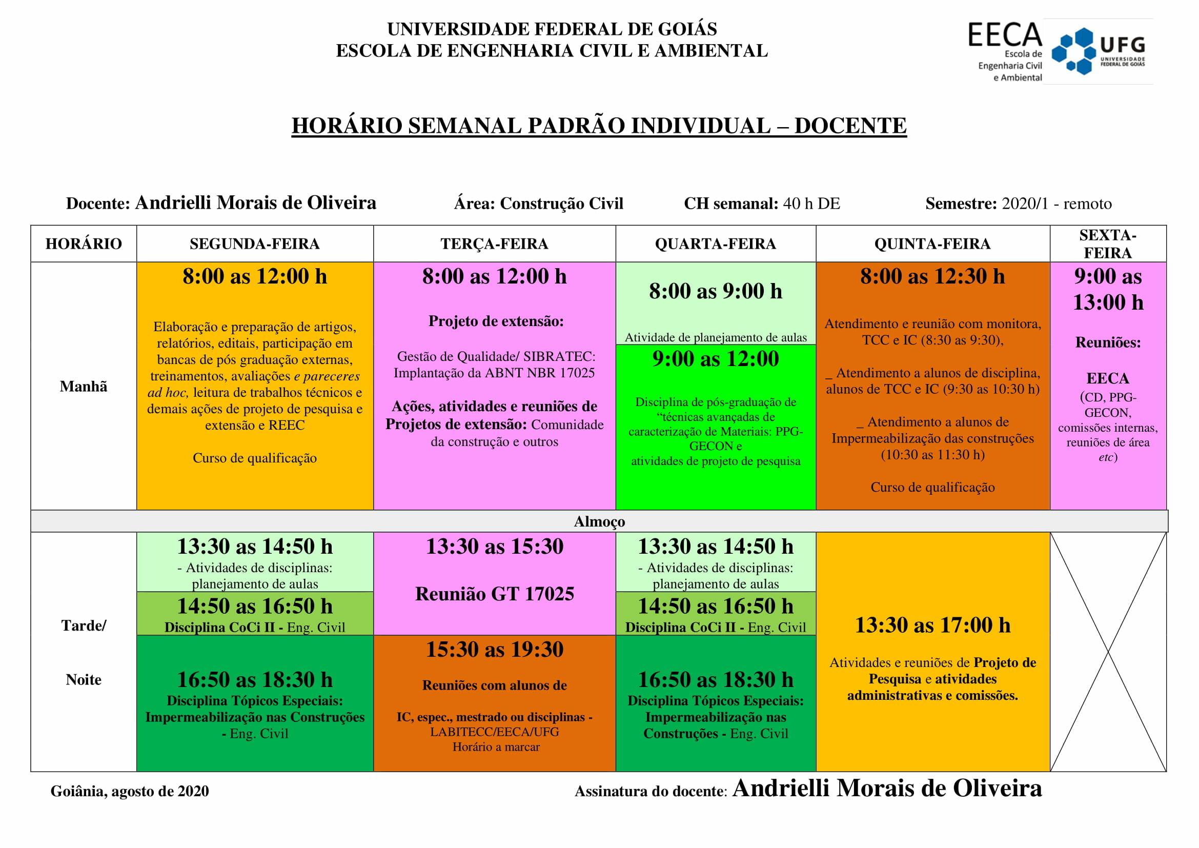 Horário Semanal - Profª. Andrielli