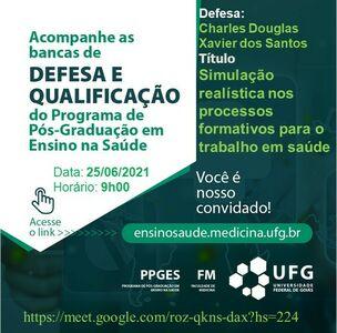 Convite para a defesa do mestrando Charles Douglas Xavier dos Santos