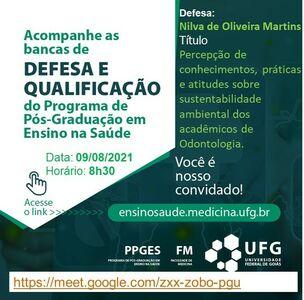 Convite para a defesa da mestranda Nilva de Oliveira Martins