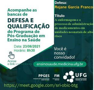 Convite para Defesa da mestranda Rejane Garcia Franco