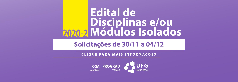 banner disciplinas/módulos isolados- ingresso em 2020-2