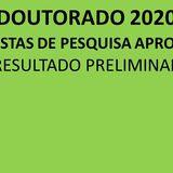 Propostas aprovadas Doutorado 2020 - Resultado Preliminar