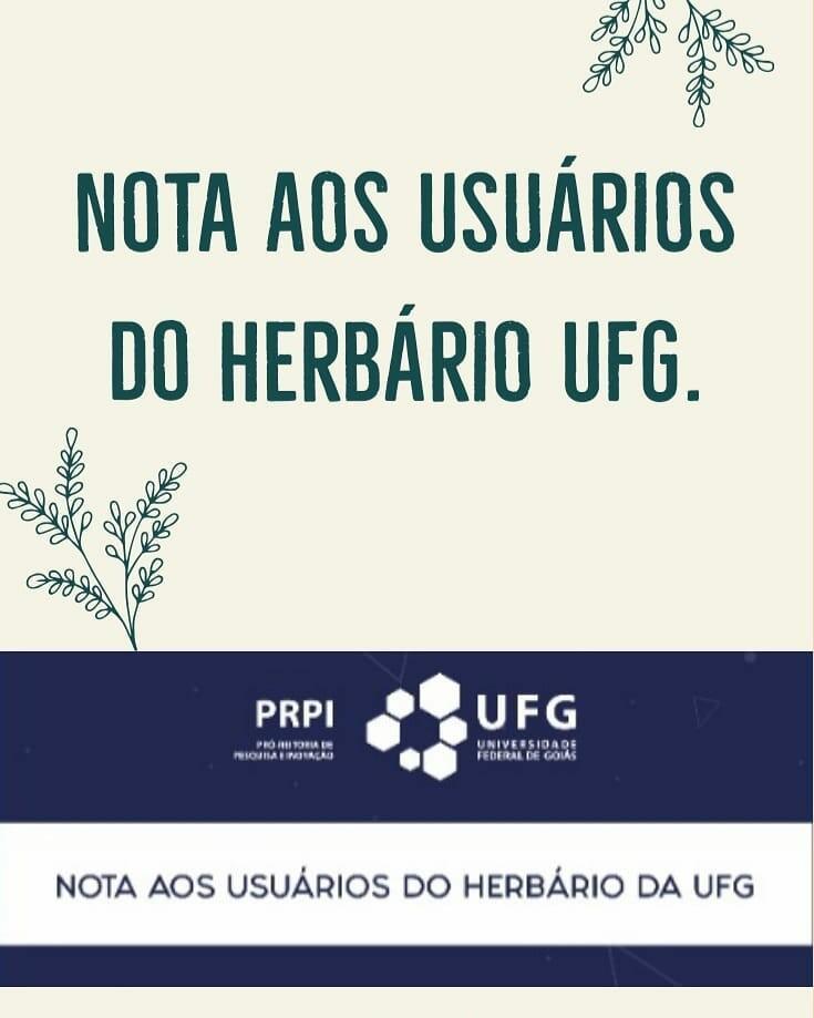 Nota aos usuários do Herbário da UFG