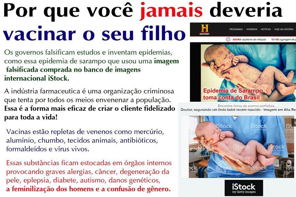 Imagem de notícia falsa dizendo que a vacinação é uma forma de envenenar a população
