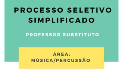 Card para site EMAC processo seletivo simplificado percussão música