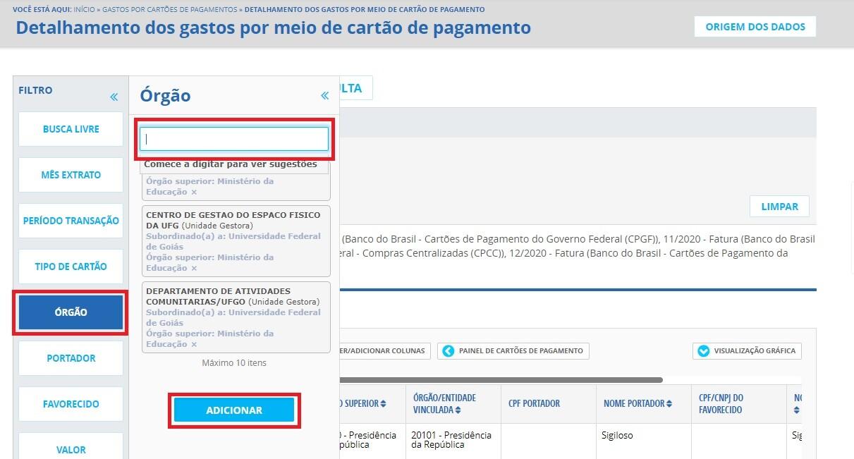 Portal da Transparência - Cartões de Pagamento 2