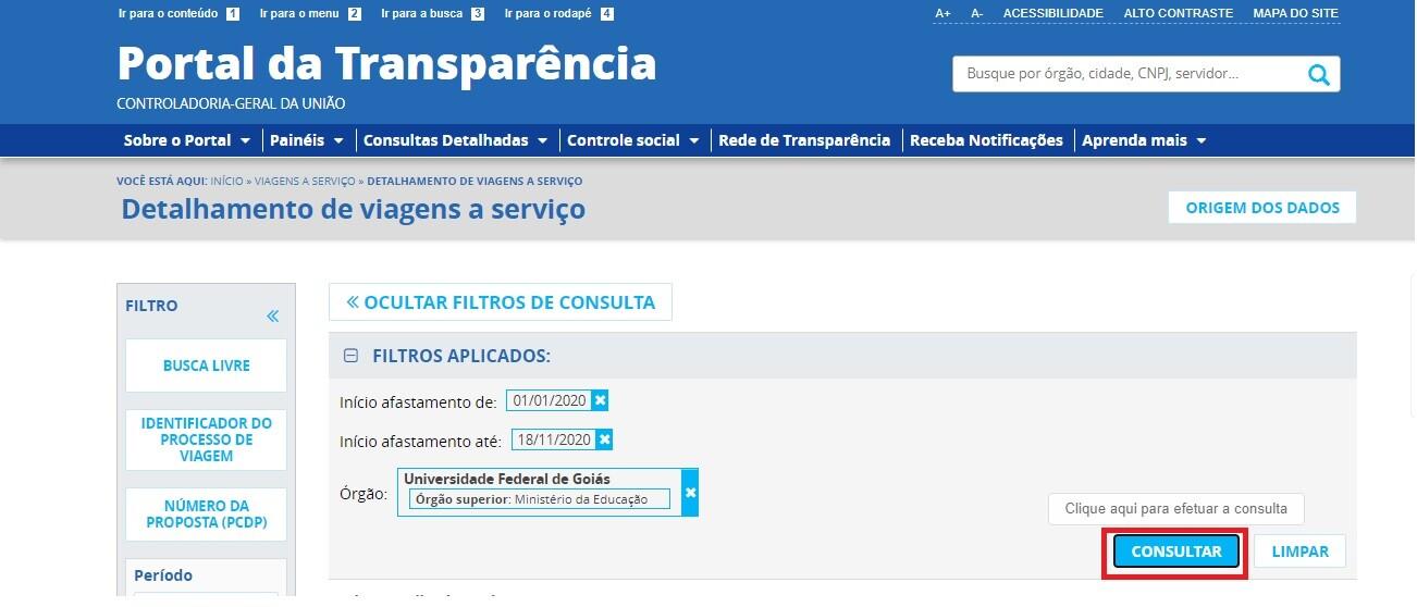 Portal da Transparência - Diárias e Passagens 4