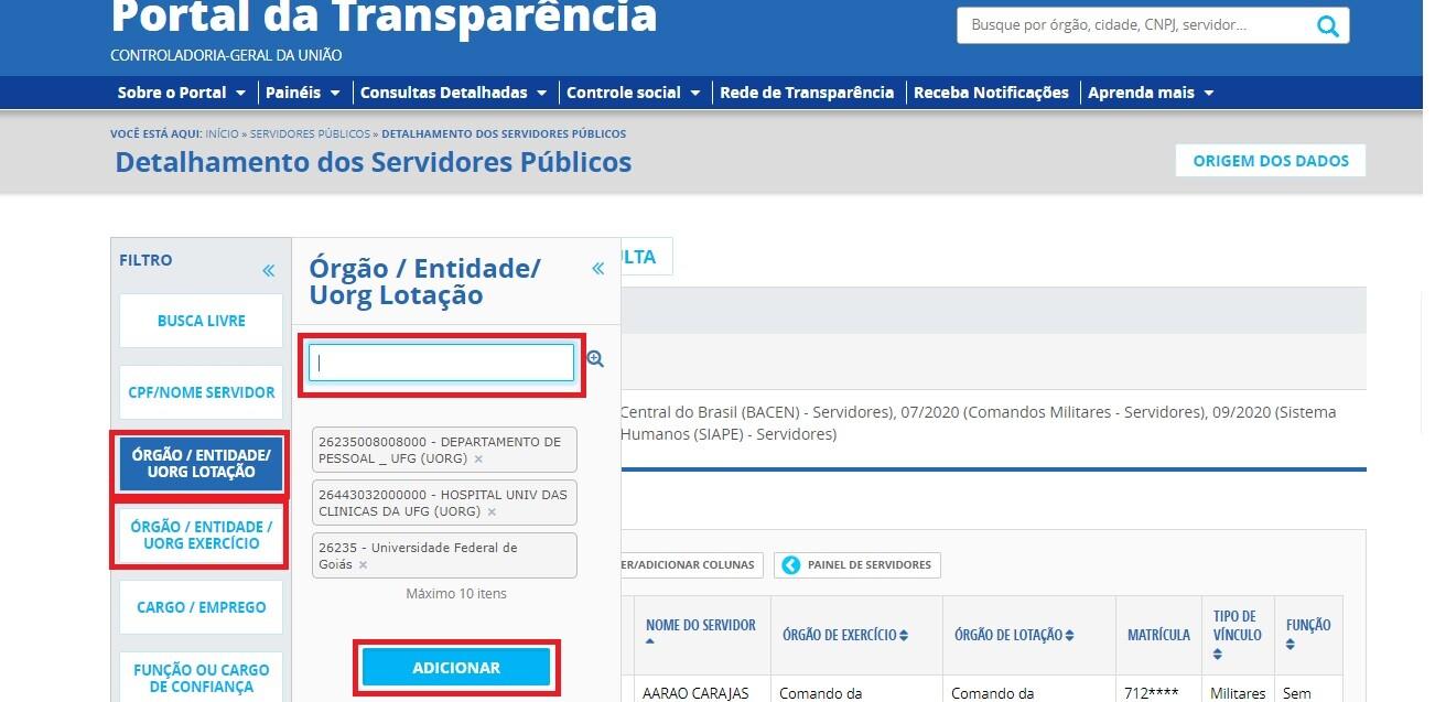 Portal da Transparência - Servidores 2