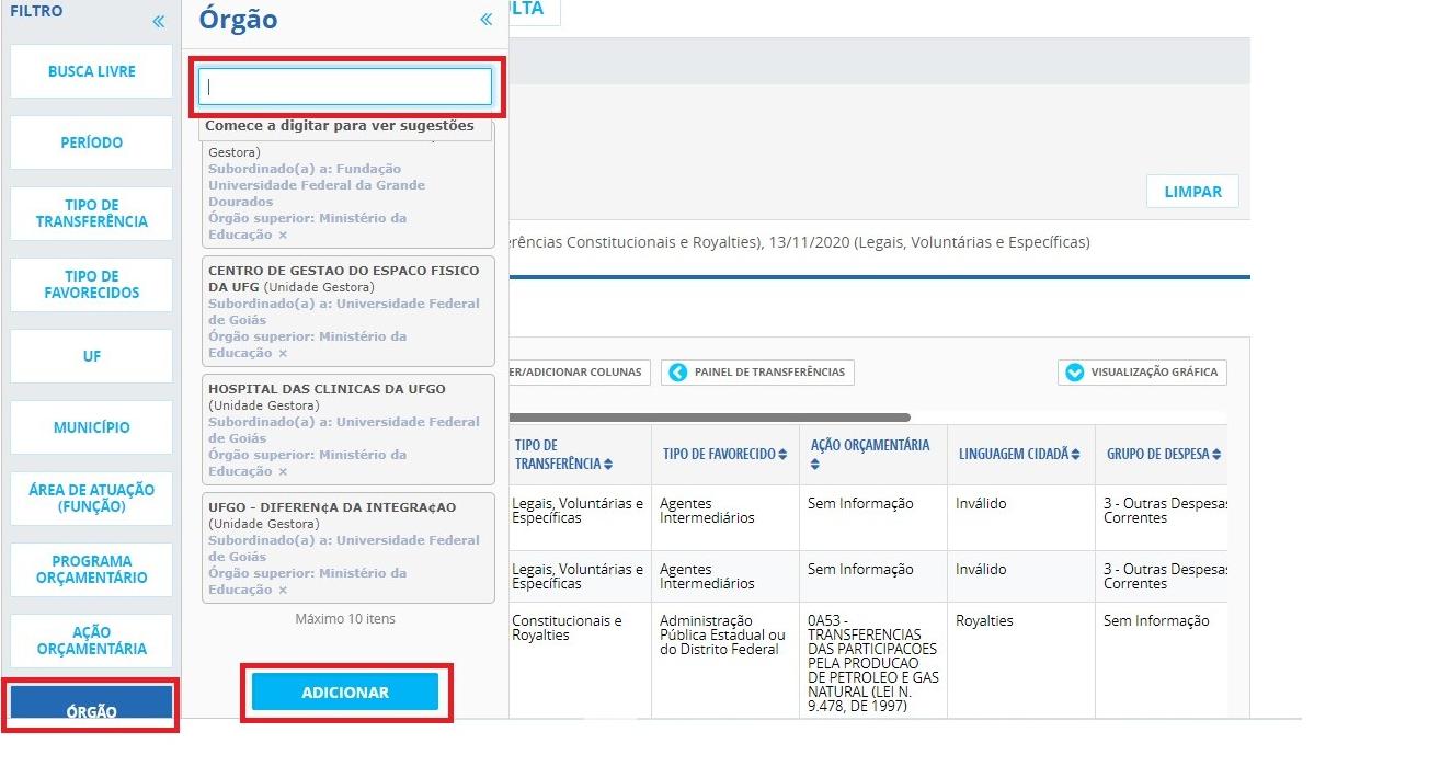 Portal da Transparência - Transferência 2