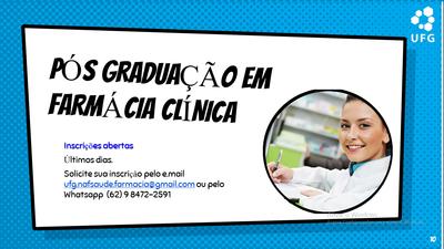 Inscrição abertas para pós-graduação em farmácia clínica.