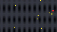 Imagem. Fundo preto com bolas amarelas e vermelhas em primeiro plano.