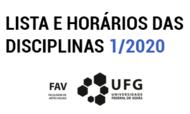 Miniatura de Disciplinas e horários 1/2020