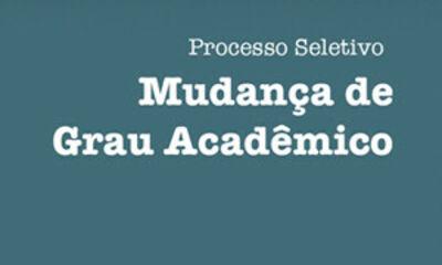 Imagem de divulgação do Processo Seletivo para Mudança de Grau Acadêmico