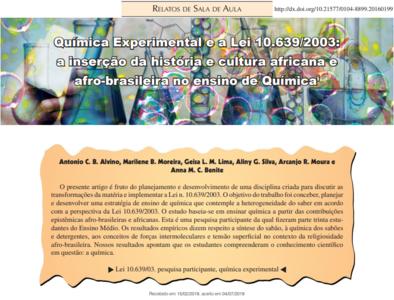 Química Experimental e a Lei 10.639/2003: a inserção da história e cultura africana e afro-brasileira no ensino de Química