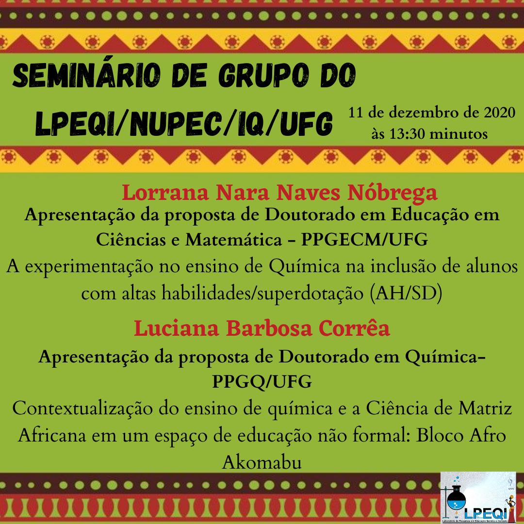 Seminário de grupo do LPEQI/NUPEC/IQ/UFG 11 de Dezembro de 2020