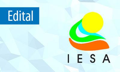 "Palavra ""Edital"" seguida da logotipo do IESA"