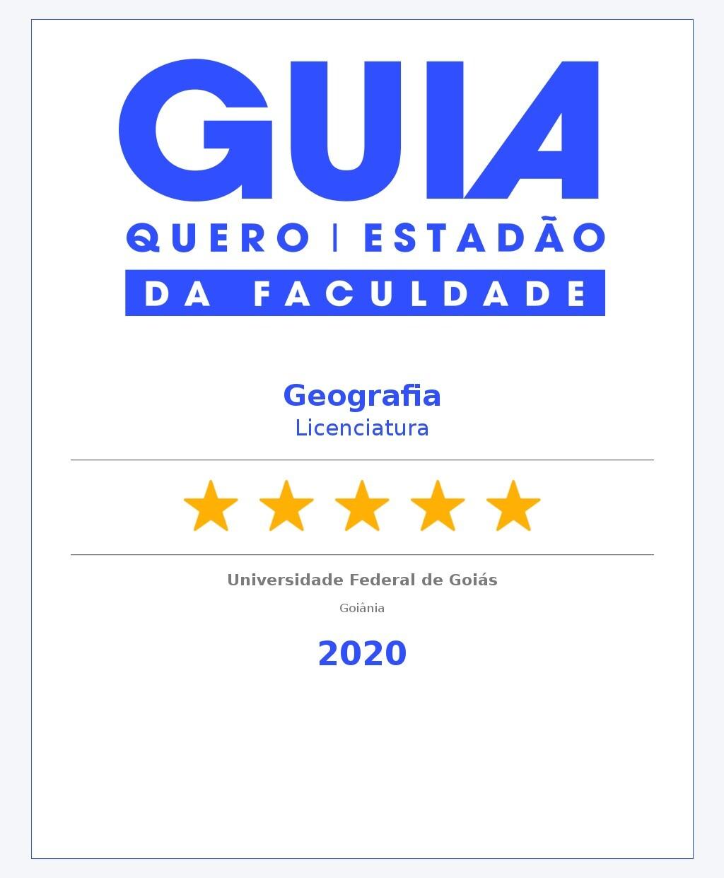 2020 - Conceito Curso Geografia Licenciatura no Estadao