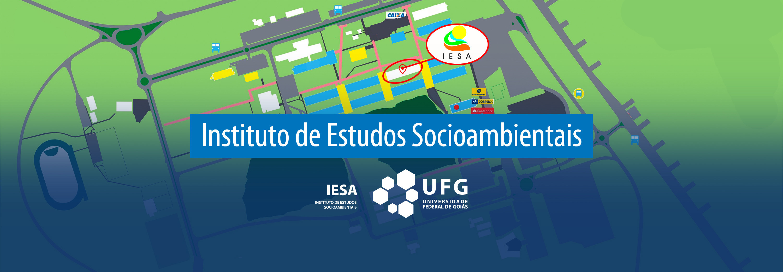 Desenho simplista do campus Samambaia localizando o IESA espacialmente