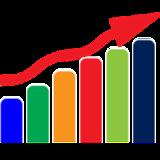 Grafico com Seta Progressiva Ascendente