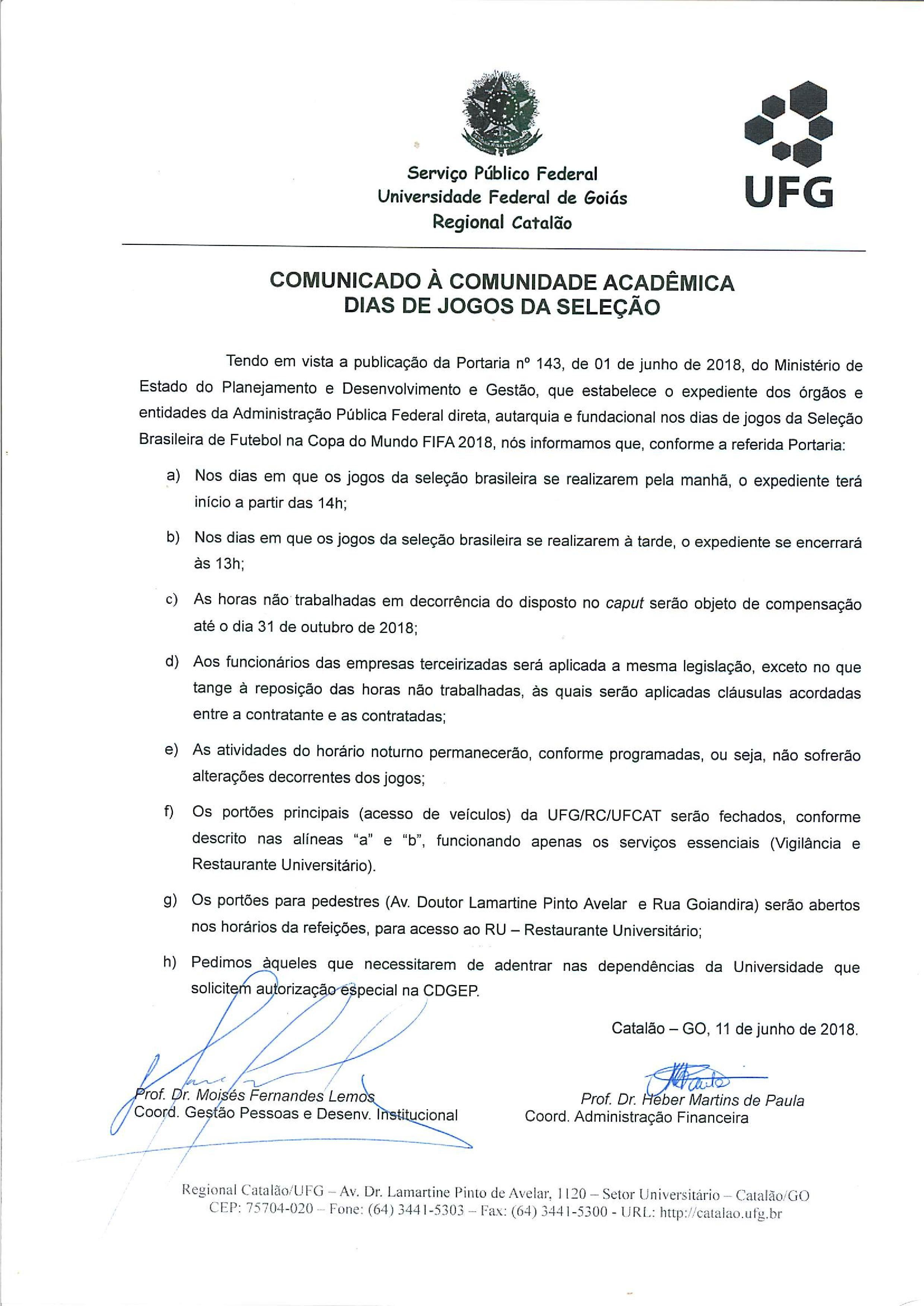 Comunicado Dispensa Copa Retificado