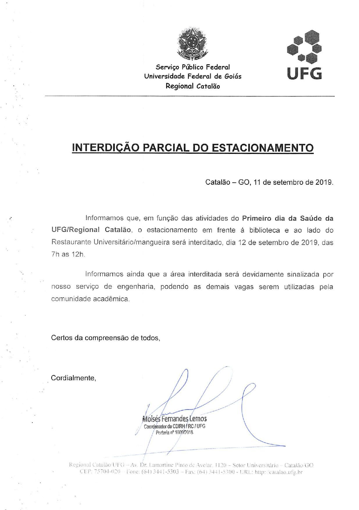 Interdição Parcial do Estacionamento