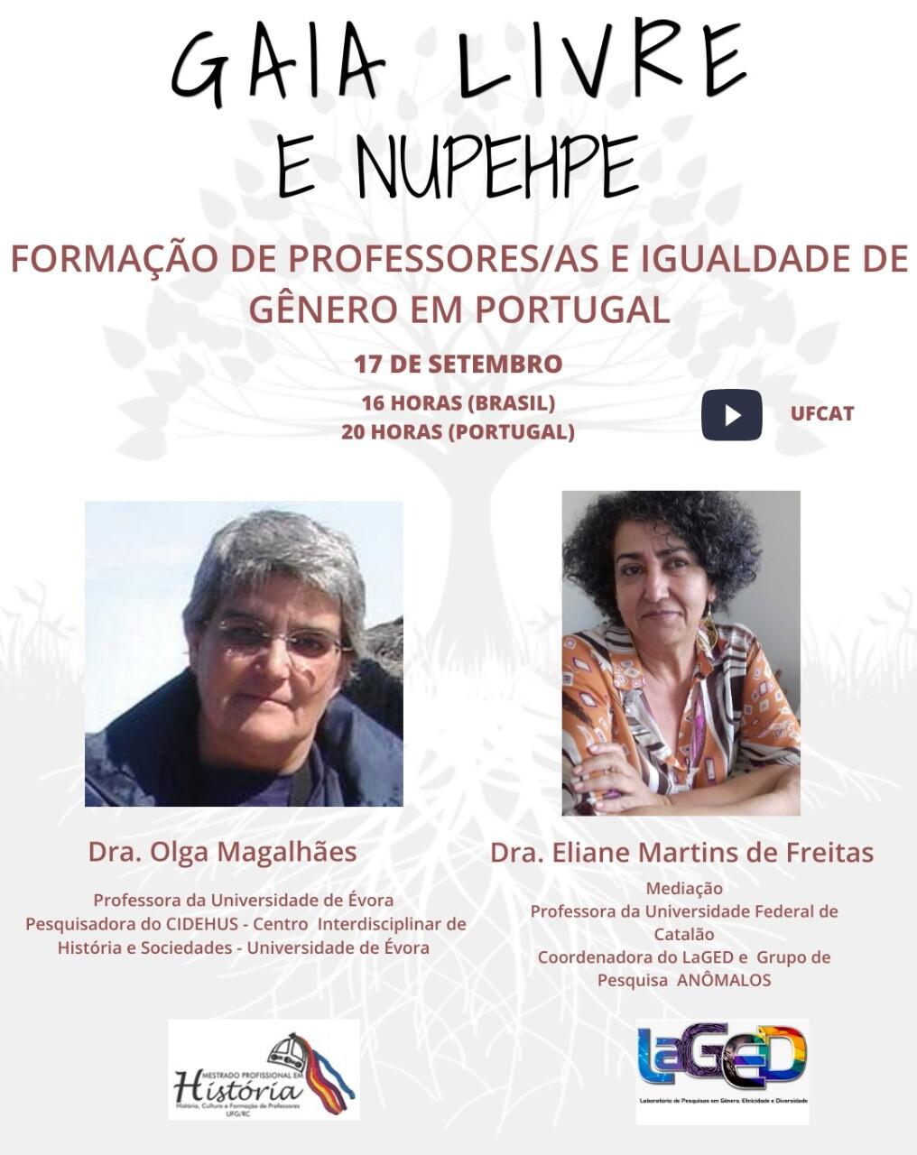 """LaGED e PPGH-MP realizam live sobre """"Formação de Professores/as e igualdade de gênero em Portugal"""""""