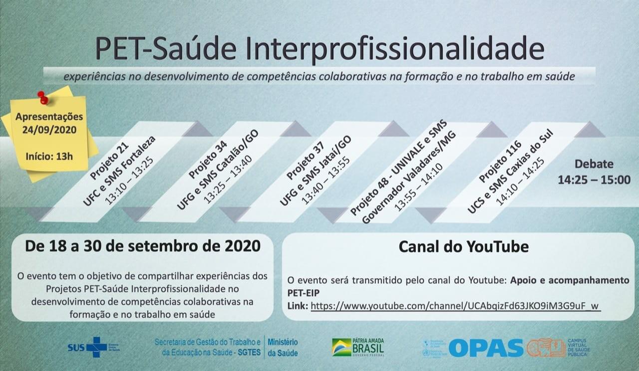 PET Saúde e Interprofissionalidade - UFCAT se apresenta em Webinário do Ministério da Saúde e OPAS