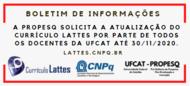 PROPESQ solicita atualização do Currículo Lattes por parte de todos os docentes da UFCAT até 30/11/2020