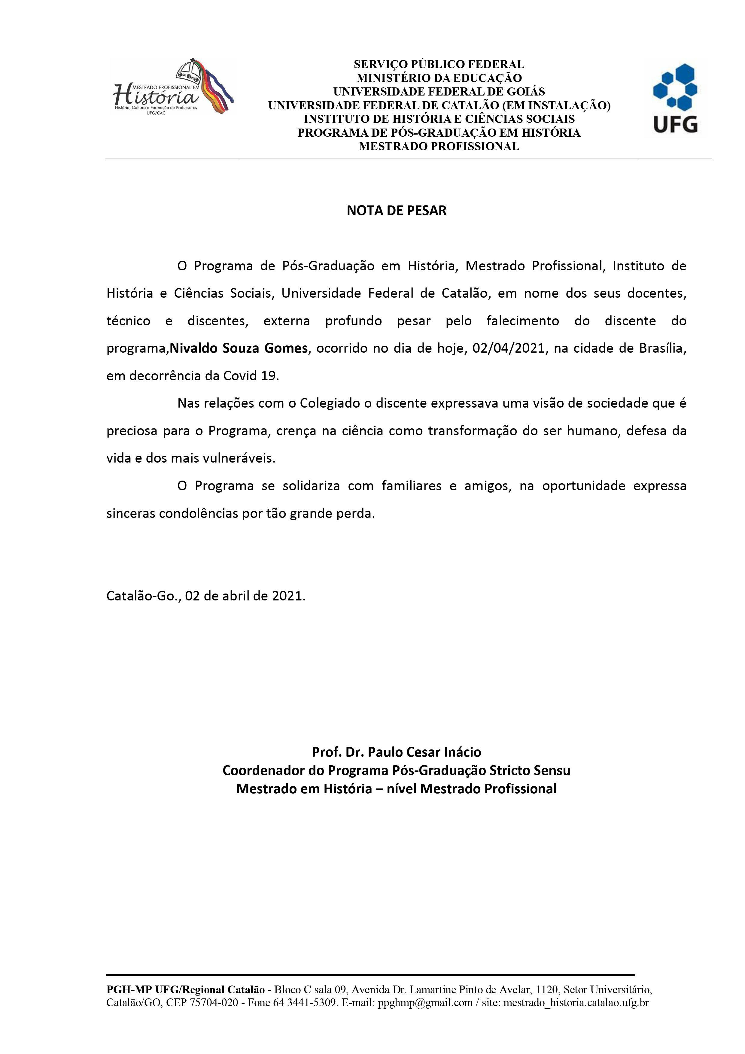 Nota de Pesar - Nivaldo