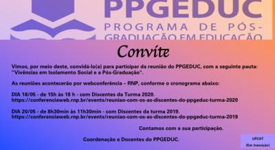 Convite Reunião com os(as) Discentes do PPGEDUC.