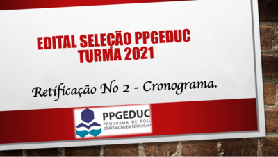 Retificação N. 2 - Edital N. 02:2020  - PPGEDUC