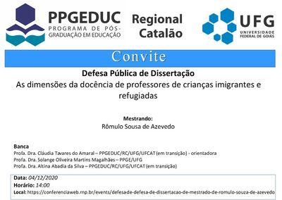 Convite de Banca de Defesa Pública de Mestrado - Rômulo de Souza